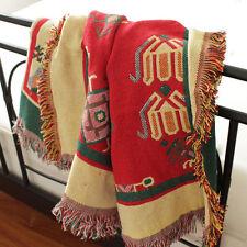 Bohemian Ethnic Tribal throw blanket rugs tapestry woven art decor geometric
