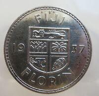 FIJI Britain UK silver 1 florin 1937 UNC RARE