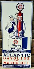 Porcelain 1920's Atlantic Gasoline-Motor Oil Sign Gas Pump Lubester Attendant