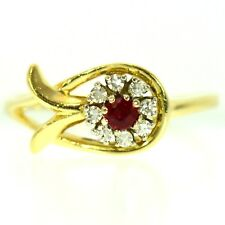 FINE RUBY & DIAMOND RING 14K YELLOW GOLD VINTAGE NATURAL RED ROUND CUT SIZE 8