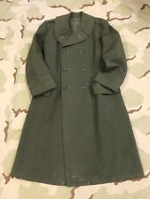 WWII LONG JACKET TRENCH COAT US MARINE CORPS OFFICERS ALPHA GREEN UNIFORM NAMED