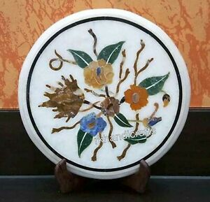 15 Inches Marble Bed Side Table Top Inlay End table with Vintage Art and Craft