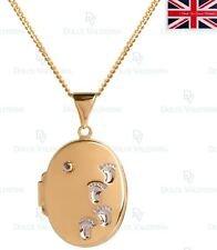 """Yellow Gold Plated Sterling Silver Baby Feet Diamond Set Locket + 18"""" Curb Chain"""
