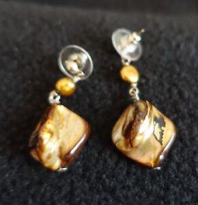 "1.5"" l x .75 w Agate Abalone Shell Diamond Shaped Dangle Earrings w/Copper Bead"