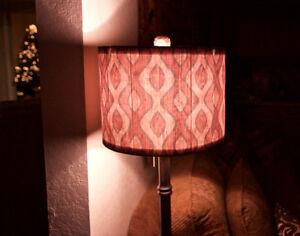 "12"" Drum Lamp Shade, Red Curves, Contemporary, Fabric, 12"" Diameter"
