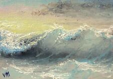 ACEO  Original OIL PAINTING SEASCAPE Fine Art Pacific Ocean Evaning Mesheryakov