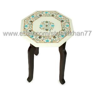 Handmade End Table Marble Inlay Side Table Living Room Sofa Corner Table Top
