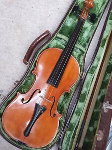 "Beautiful old German 4/4 Violin deeply flamed side & back ""copy of Stradiuarius"""