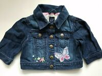 Baby Gap Girls Denim Cropped Jacket Embroidered Butterflies Size 3T NWT