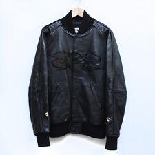 100% AUTHENTIC BAPE OG Cowhide Leather Baseball Jacket rare black camo shark L