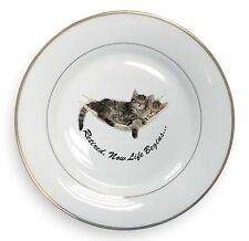 Cats in Hammock Retirement Gift Gold Rim Plate in Gift Box Christma, AC-RET206PL