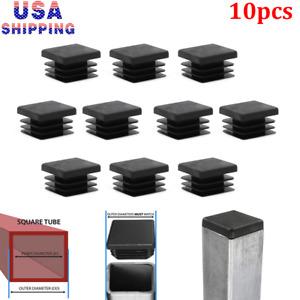 "10pc 1"" inch Square Tube Hole Plug Plastic End Cap 1x1 Tubing Glide Tips Insert"