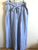 Phase Eight Women Blue Linen Trousers Size UK 18 Ladies
