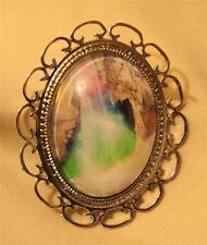 Lovely Scallop Rim Colorful Landscape Waterfall Glass Cameo Silvertne Brooch Pin