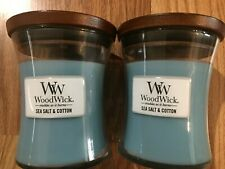 Lot of (2) 9.7 oz WoodWick Sea Salt & Cotton Candles