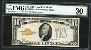 *1928 GOLD CERTIFICATE $10.00 PMG 30 VERY NICE NOTE (A-A BLOCK) PLEASE LQQK!!*