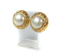 CHANEL Vintage Gold Tone Faux Pearl Clips Earrings CA11907L