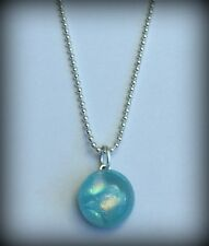 Dichroic Glass Necklace Bead Cabochon Ocean Blue Petite Small Ball Chain RTS