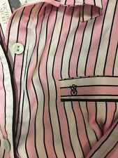 New VICTORIA SECRET Afterhours satin pajama set M pj pants Sexy pink stripe