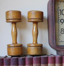 Antiguo Mancuernas Pesas. Home Deco De Madera, gimnasio, levantamiento de pesas ejercicio de madera