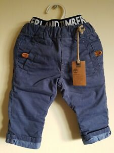 Timberland Boys Trousers 9 months Padded Pants Baby Houndstooth Blue NEW RRP £55
