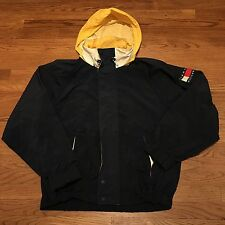 Vintage Tommy Hilfiger Jacket Coat Collapsible Hood Patch Medium