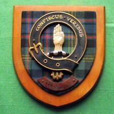 More details for vintage nice scottish carved oak clan watson tartan plaque crest shield