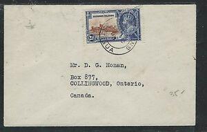 LEEWARD ISLANDS (P2805B) KGV SILVER JUBILEE 2 1/2D SINGLE FRANK TO CANADA 1935
