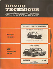 REVUE TECHNIQUE AUTOMOBILE 343 RTA 1975 AUSTIN MORRIS MINI TOUS TYPES + COOPER S