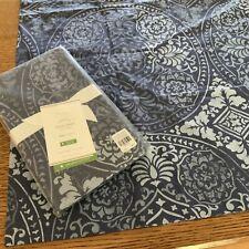 2 Pottery Barn Carins KING Medallion Organic Cotton Pillow Sham Blue NWT