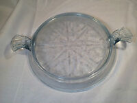 Anchor Hocking Fire-King Sapphire Blue Philbe 2 Handled Round Hot Plate
