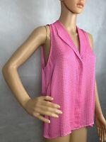 Jeunesse Womens Hot Pink Check Plaid Silk Sleeveless Button Blouse Top Size XS