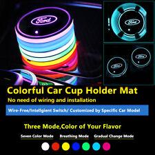 2pcs Colorful LED Coaster Trim Parts Car Light Lamp Bulbs Fit Ford Neon Lights