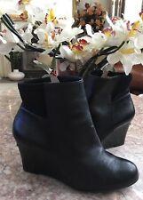 Michael Kors Aileen Black Leather Zipper Wedge Ankle Boot Sz 7.5M EUC, MSRP $225