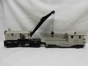 POSTWAR LIONEL GRAY 6560 BUCYRUS ERIE CRANE CAR & 6119 CABOOSE, C-7 EX