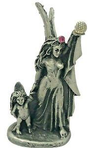 Pewter Fantasy Fairy Mother & Child Figurine VTG