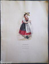 COSTUME Autriche Hongrie Suisse Gravure Originale 19e Aquarellée Pelcoq Morse 02