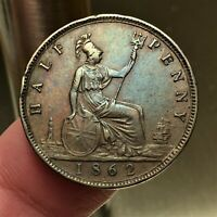 1862 Great Britain 1/2 Penny Coin KM# 748.2