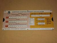 VINTAGE 1966 SIMPSON CASTING WEIGHT SLIDE CHART CALCULATOR