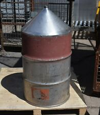 "Stainless Steel Cone 44 Gallon drum hopper funnel 1 1/2"" threaded outlet  base"