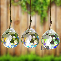 FENG SHUI HANGING CRYSTAL BALL 50mm Sphere Prism Rainbow Sun Catcher Clear 2""