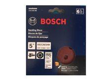 Bosch SR5R000 6-Piece Assortment 5 In. 8 Hole Hook-And-Loop Sanding Discs