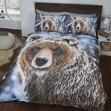 BIG BEAR SINGLE DUVET COVER AND PILLOWCASE SET WILDLIFE ANIMAL WINTER BEDDING