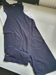 Nike Dryfit tech Grappler Wrestling cycling Singlet Men's compression suit Blue