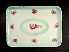Vanity / Dresser Tray, Bunches of Pretty  Pink and Violet Flowers -- Blue Border