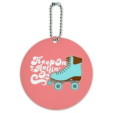 Roller Skates Derby Keep On Rolling Skating Round Luggage Card Carry-On ID Tag