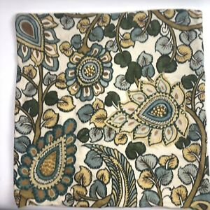 Pottery Barn Embroidered Pillow Cover 20 in square cotton blue beige boho crewel