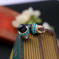 Dame runder schwarzer blauer Korn-Harz-Ohrring-KristallRhinestones-Ohr-Bolzen