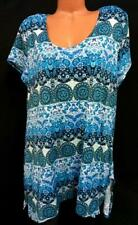 Jon den blue floral mandala print spandex stretch short sleeve plus top 1X