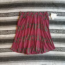 New UNICORN Lularoe Sz XL Madison Knee Length Box Pleat Skirt Deer Print Wine